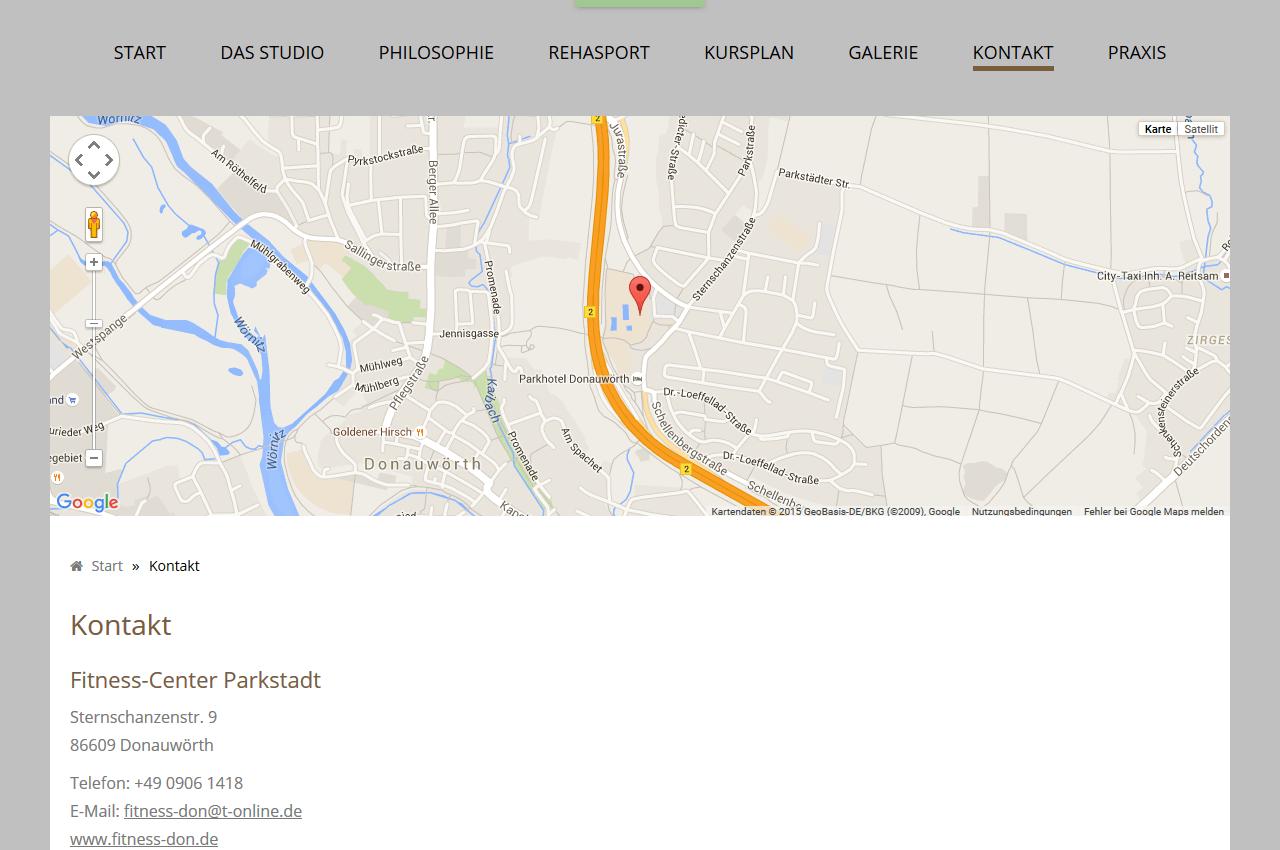 Kontaktseite mit Map