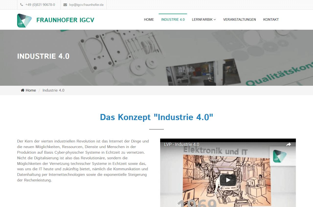 Inhaltsseite der Homepage