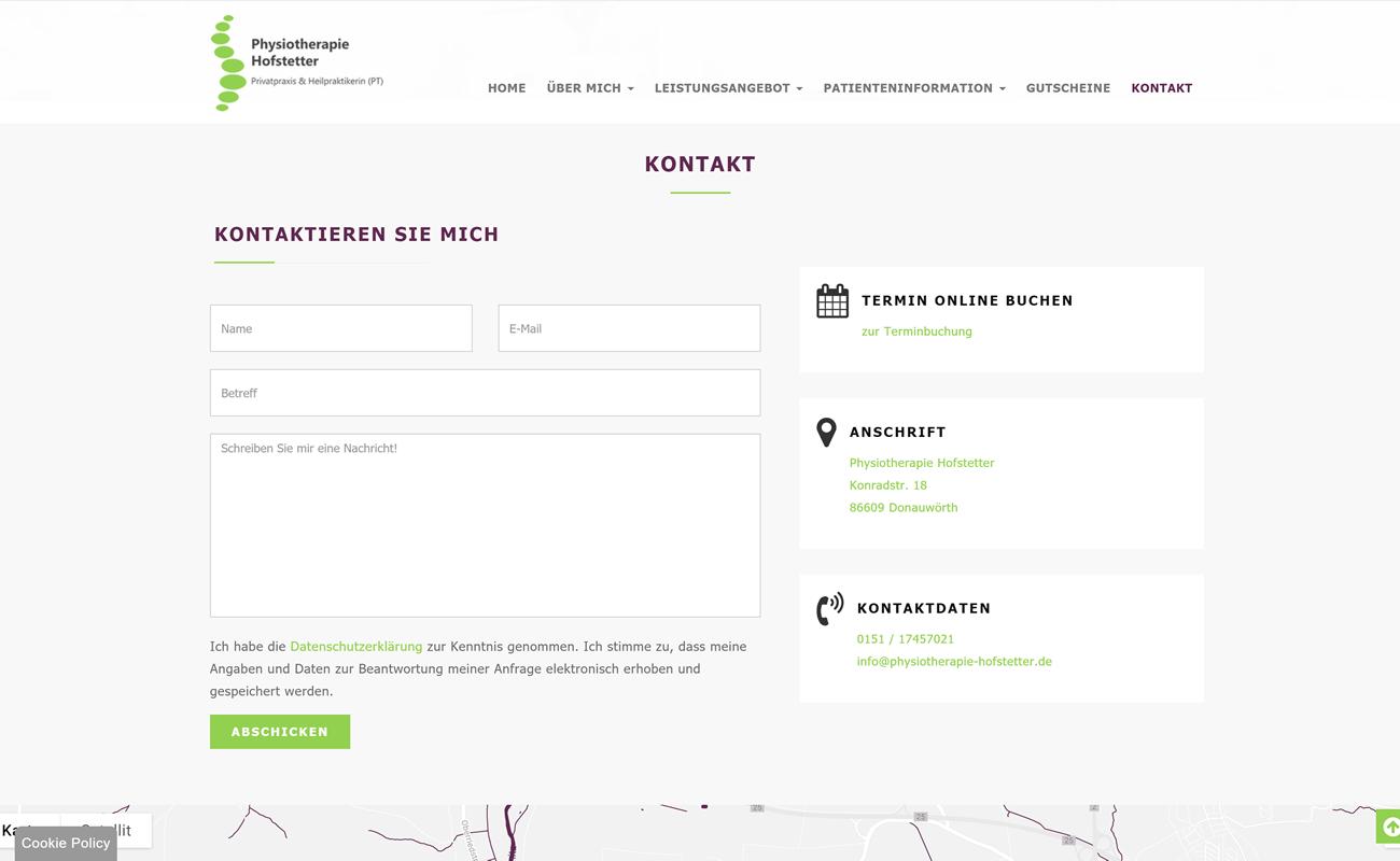 Kontaktseite mit Formular