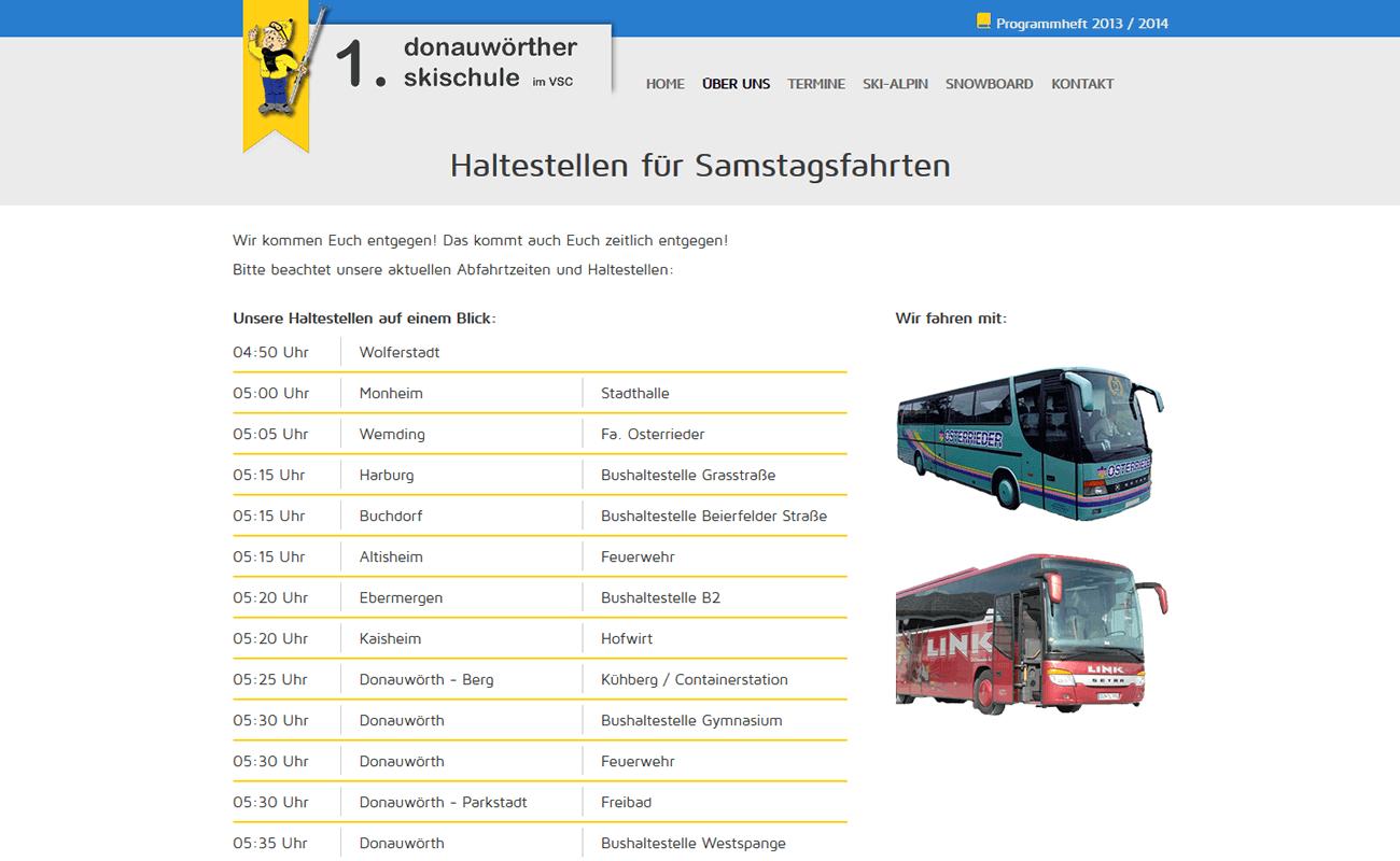Bushaltestellen und Abfahrtszeiten
