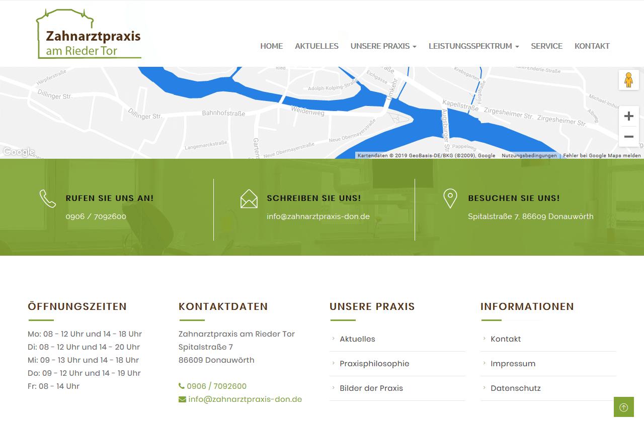 Fußbereich der Homepage